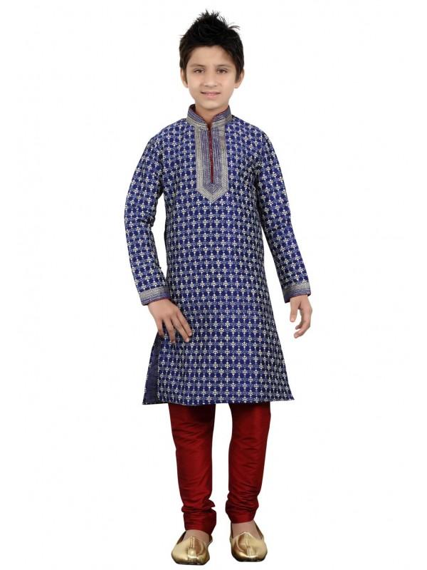 Blue Color Boy's Party Wear Kurta Pajama.