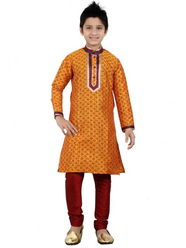 Orange Color Boy's Indian Kurta Pajama.