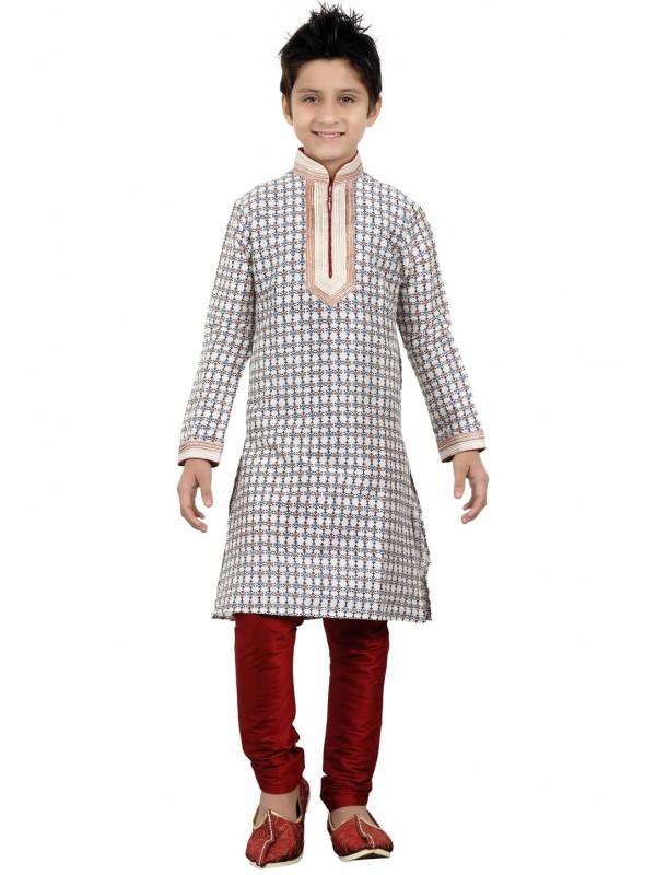 Exquisite Off White Color Boy's Printed Kurta Pajama.
