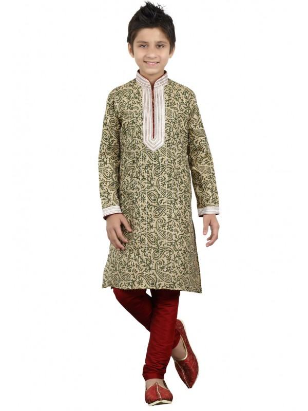 Green Color Boy's Printed Kurta Pajama.