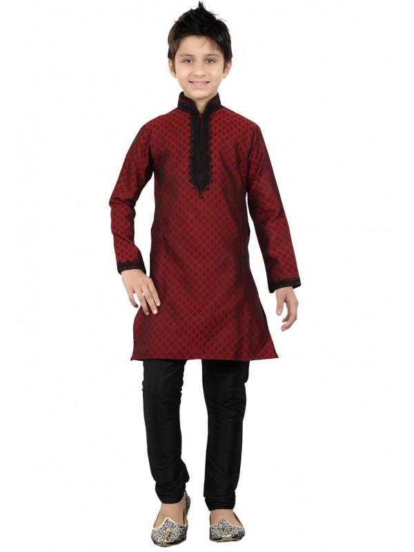 Maroon Color Cotton Kurta Pajama.