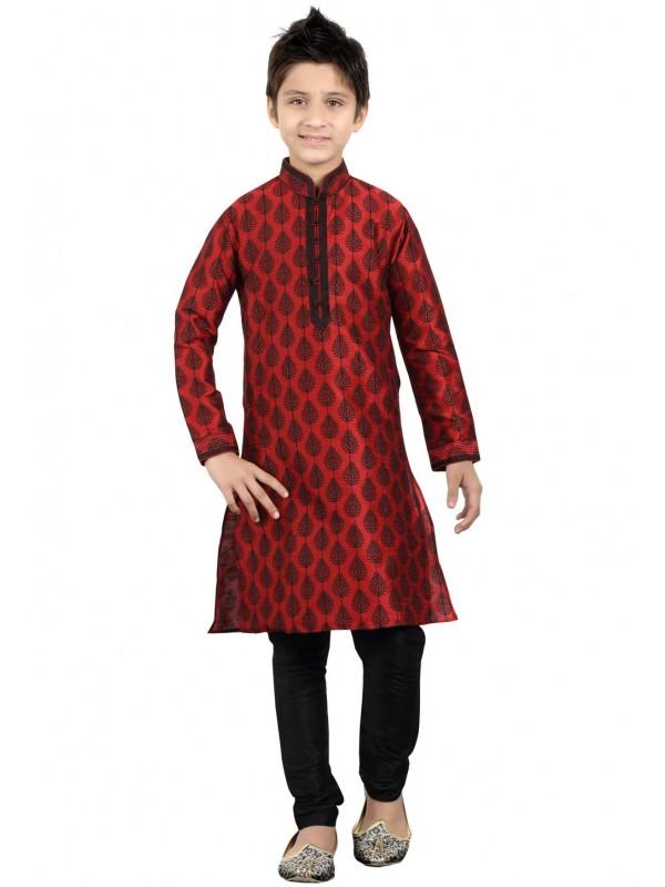 Maroon Color Boy's Party Wear Kurta Pajama.