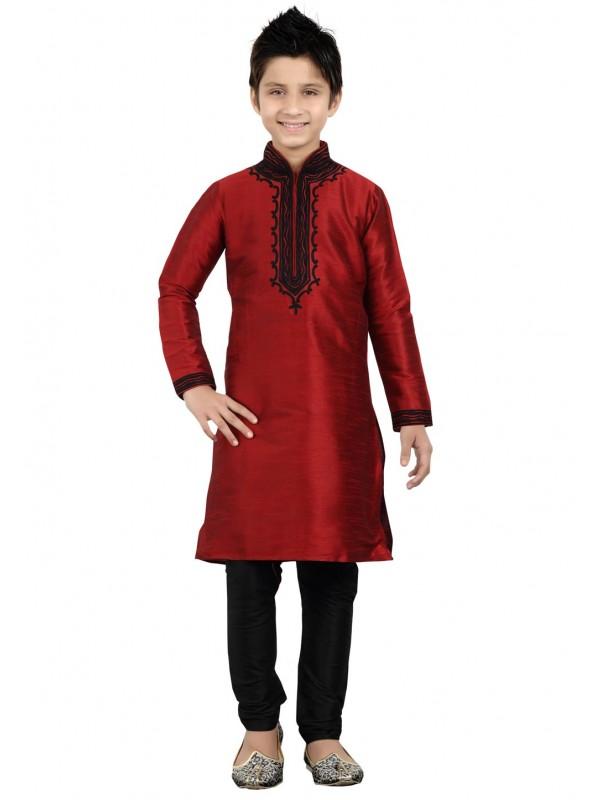 Red Color Boy's Readymade Kurta Pajama.
