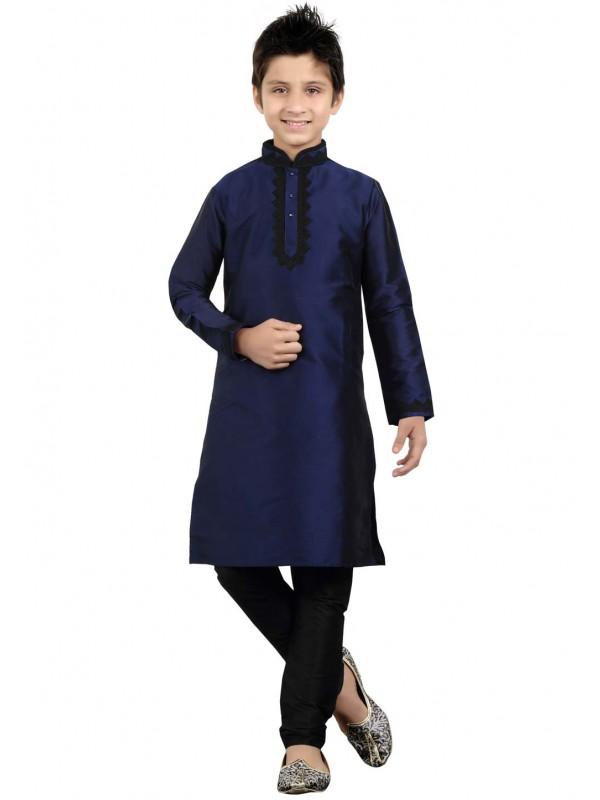 Blue Color Cotton Kurta Pajama.