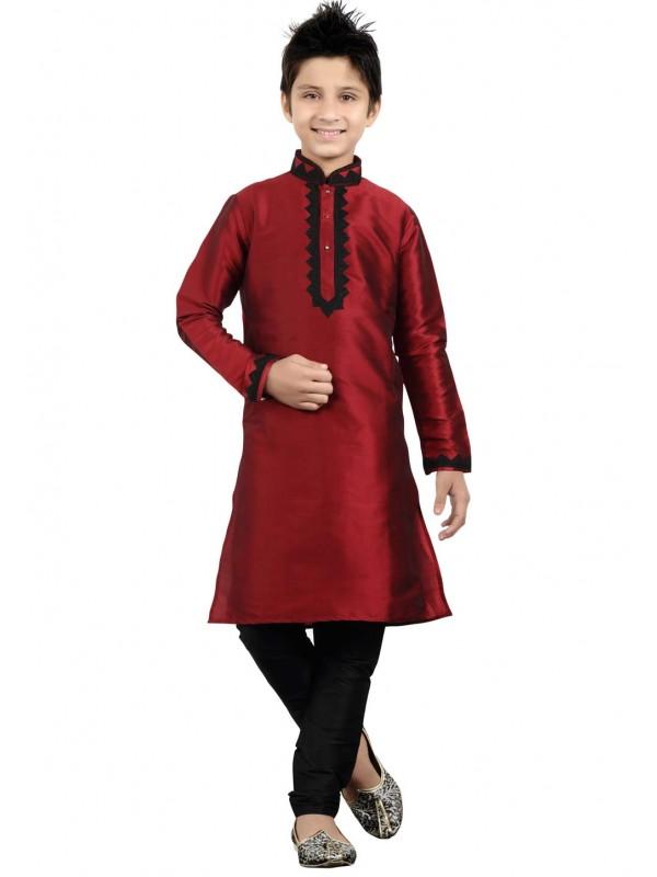 Red Color Boy's Kurta Pajama.
