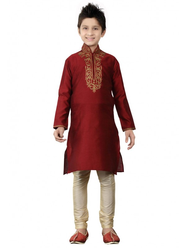Maroon Color Boy's Readymade Kurta Pajama.