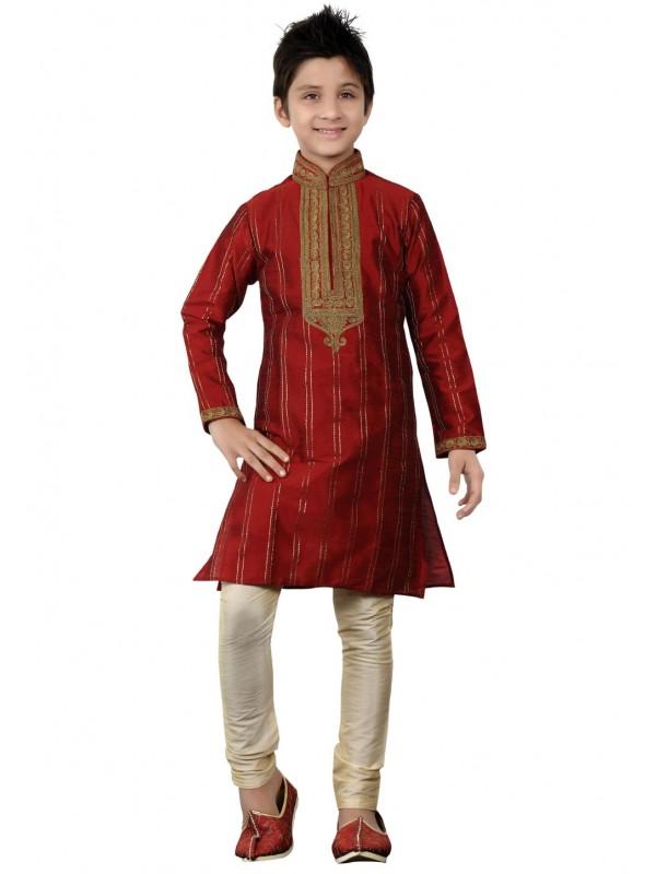 Boy's Maroon Color Art Silk Kurta Pajama.