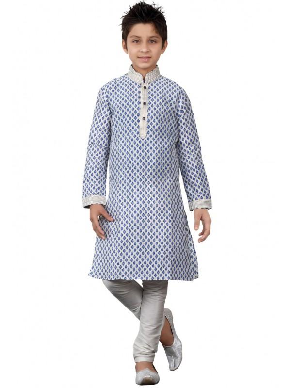 Off White Color Boy's Printed Kurta Pajama.