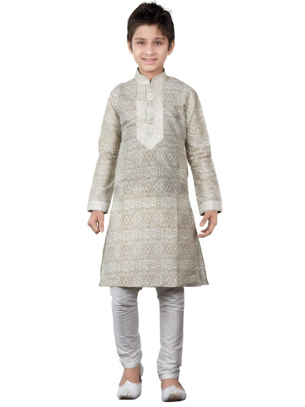 Beige,Cream Color Boy's Printed Kurta Pajama.