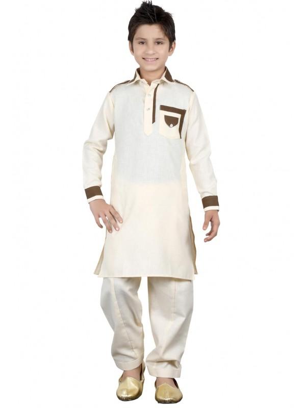 Cream Color Boy's Readymade Pathani Kurta Pajma.