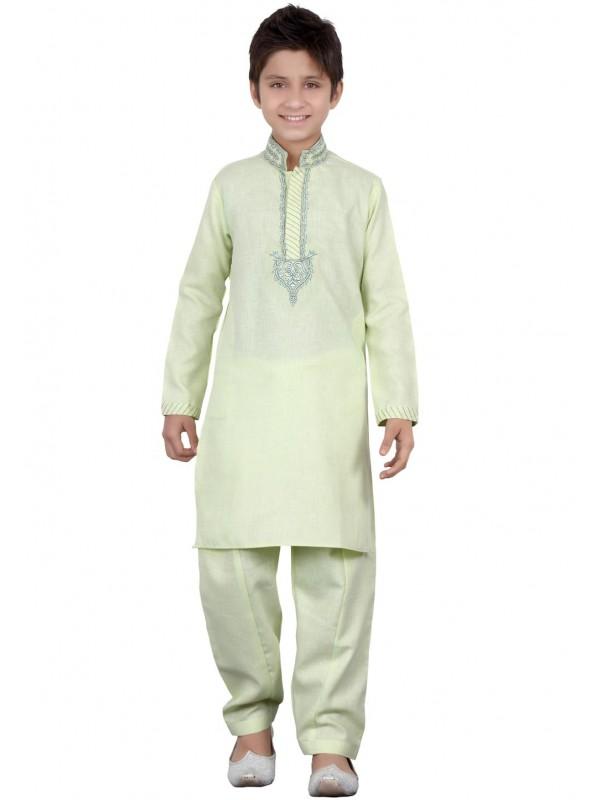 Green Color Boy's Pathani Kurta Pajama.