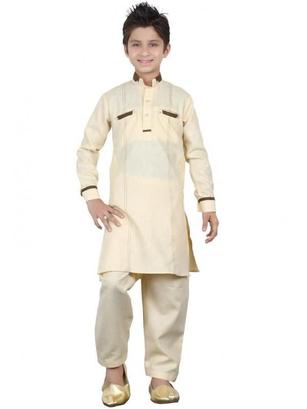 Golden Color Boy's Pathani Kurta.