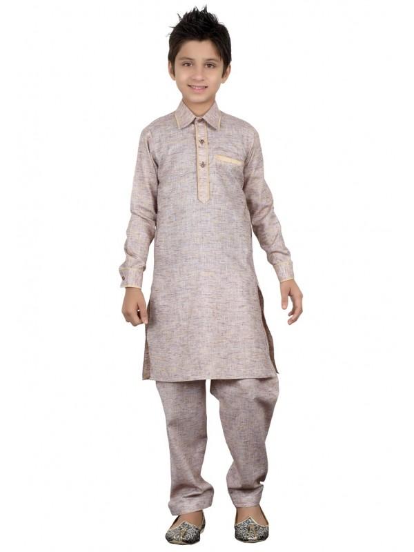 Grey Color Boy's Pathani Kurta Pajama.