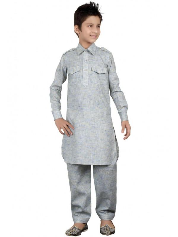 Grey Color Cotton Pathani Kurta Pajama