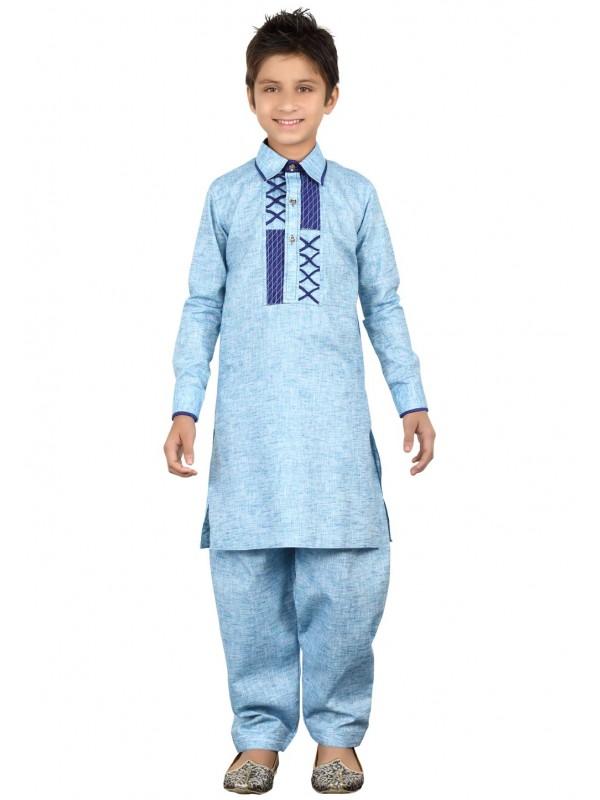 Sky Blue Color Boy's Pathani Kurta Pajama.