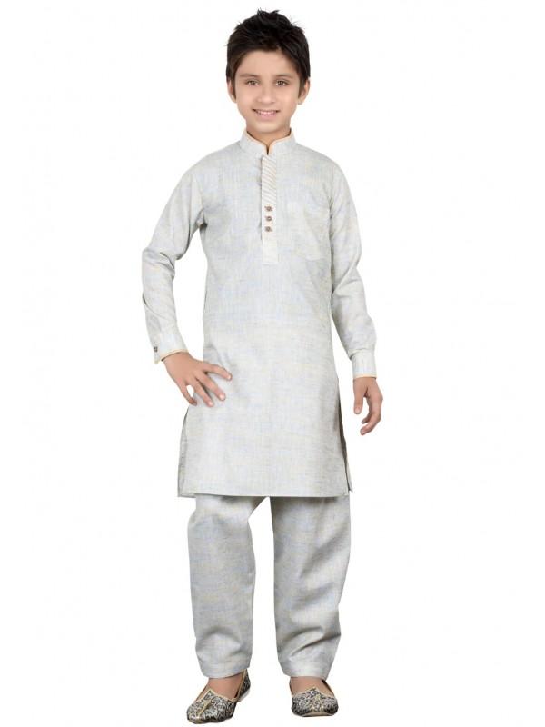 Boy's Beige,Golden Color Readymade Kurta Pajama.