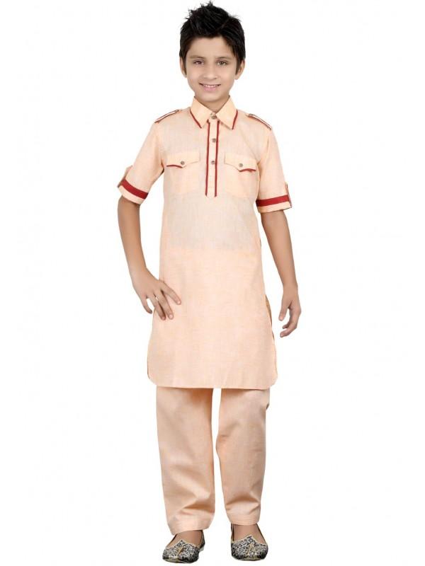 Peach Color Boy's Kurta Pajama.