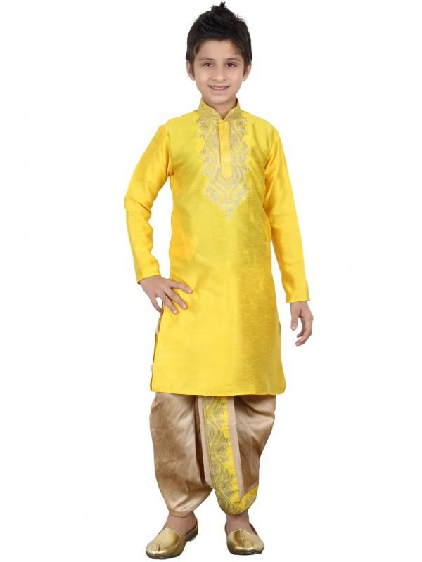 Yellow Color Boy's Dhoti Kurta.