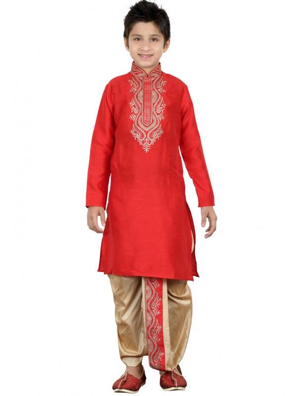 Maroon Color Boy's Designer Dhoti Kurta.