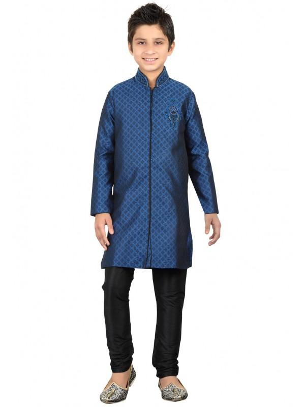 Blue Color Boy's Indowestern Kurta Pajama.