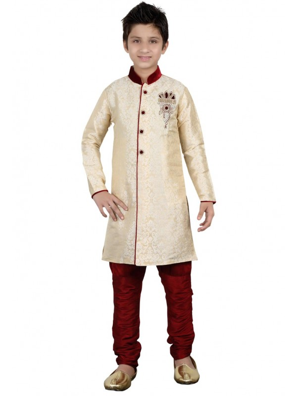 Cream Color Boy's Indowestern.