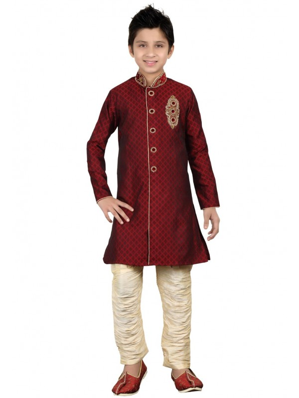 Maroon Color Boy's Indian indowestern.
