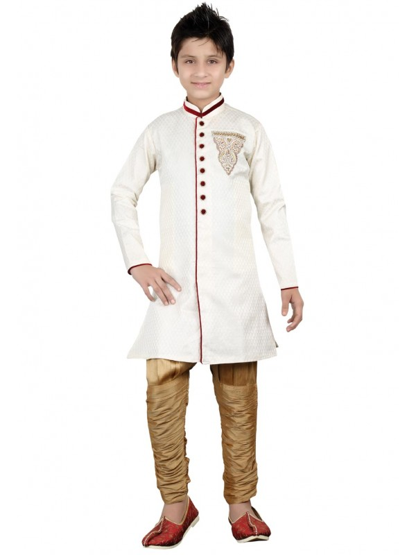 Off White Color Boy's Indowestern Kurta Pajama.