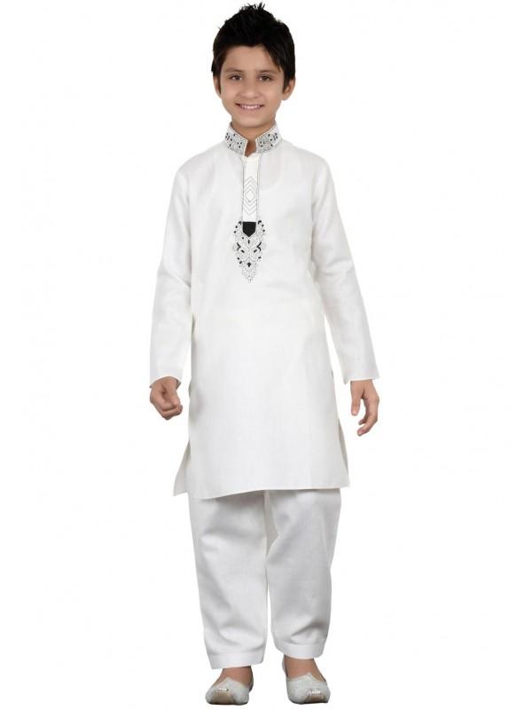 White Color Boy's Readymade Pathani Kurta Pajama.