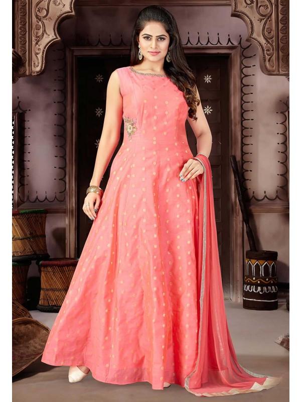 Pink Color Chanderi Silk Fabric Salwar Suit.