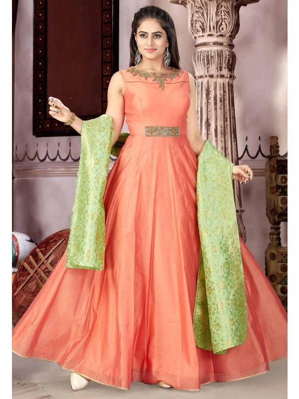 Orange Color Anarkali Salwar Kameez.