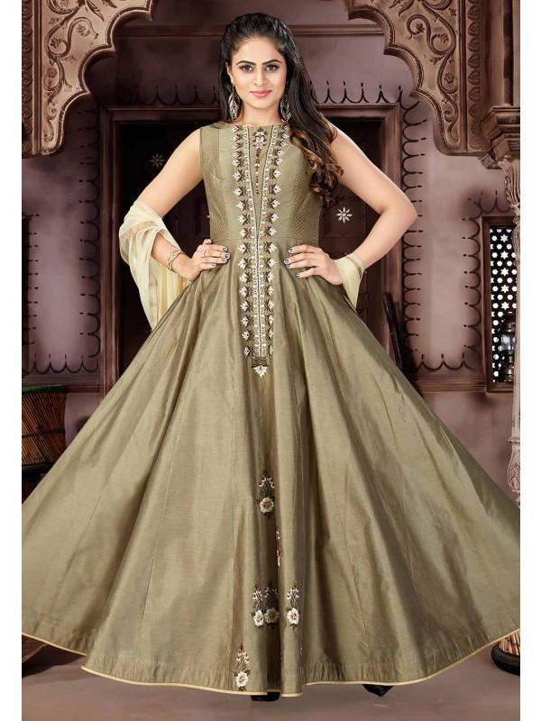 Brown Color Anarkali Salwar Suit.