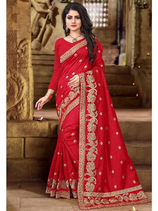 Red Color Indian Designer Saree.