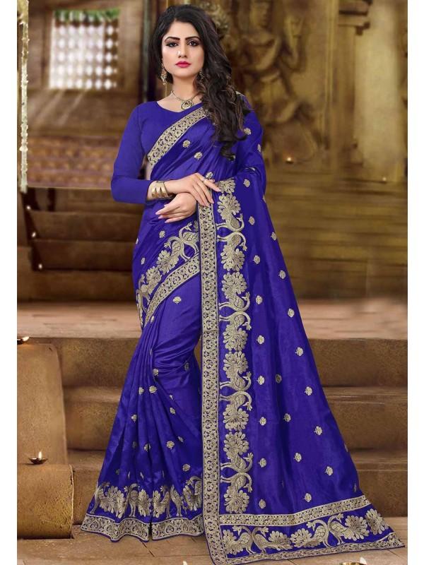 Blue Color Art Silk Saree.