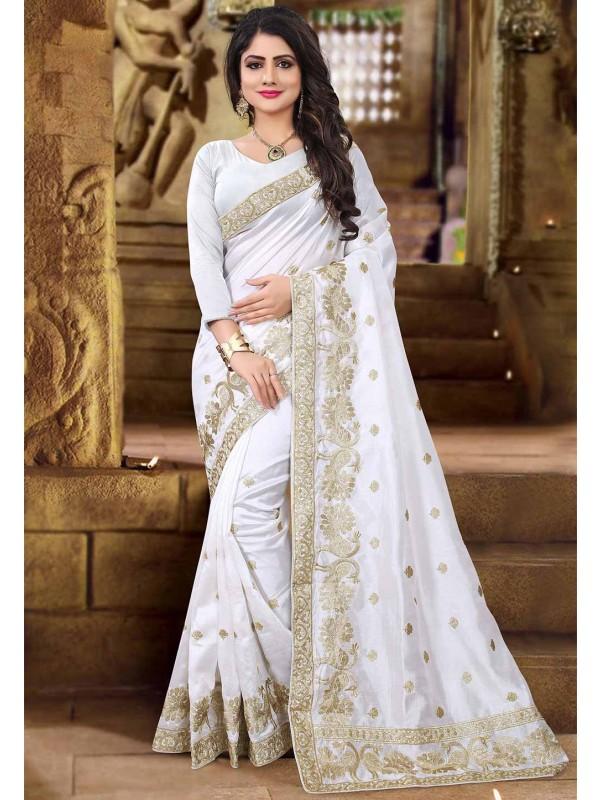 White Color Embroidered Saree.