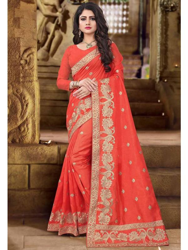Traditional Look Orange Color Saree.