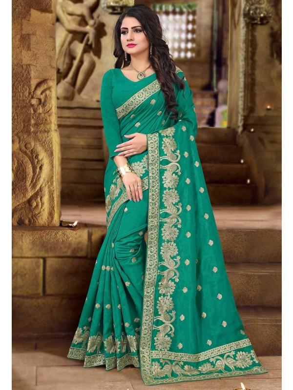 Green Color Art Silk Saree.