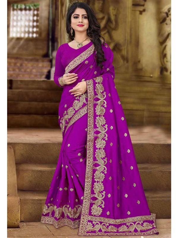 Magenta Color Embroidered Saree.