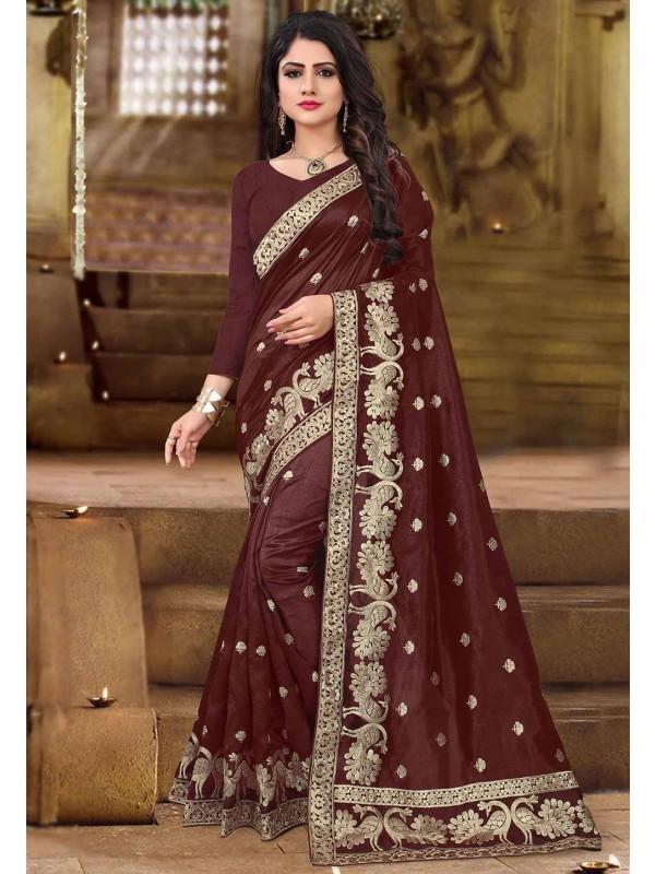 Brown Color Indian Saree.