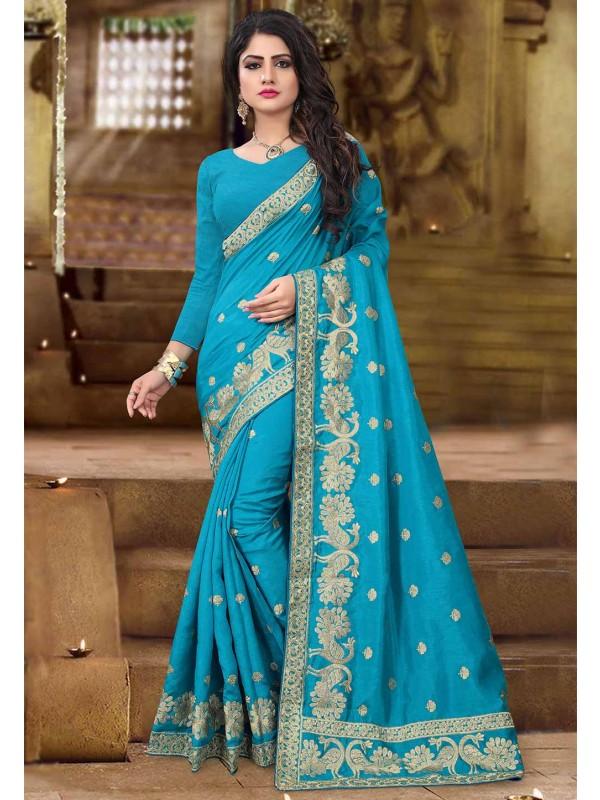 Turquoise Color Silk Sari.
