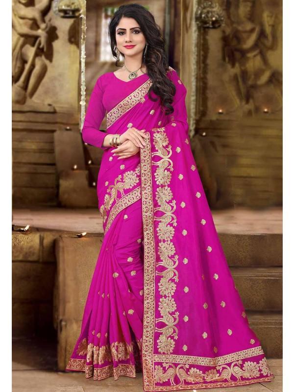Pink Color Designer Bridal Saree.