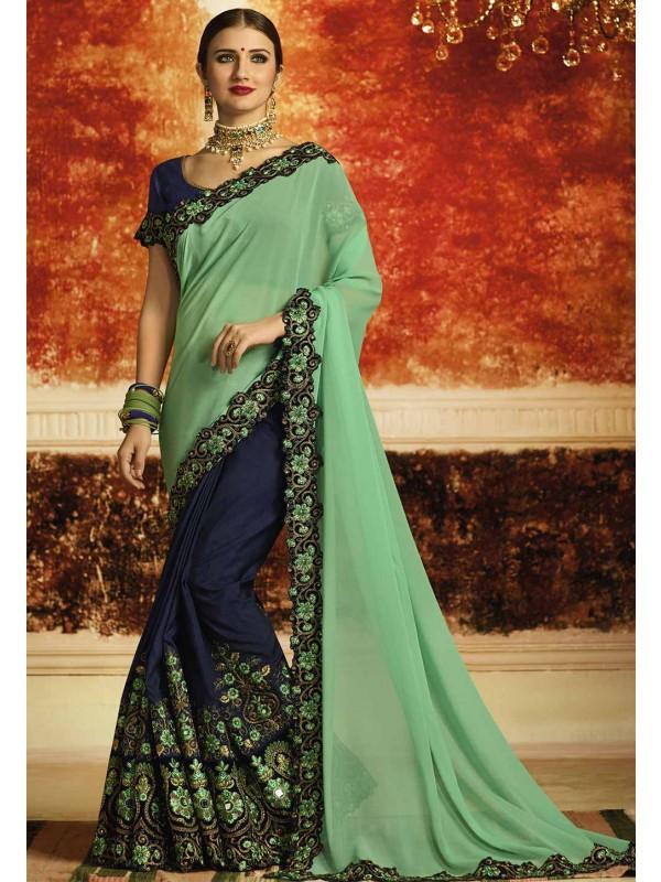 Green,Blue Color Designer Party Wear Saree.