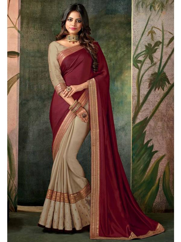Maroon,Beige Color Indian Designer Saree.
