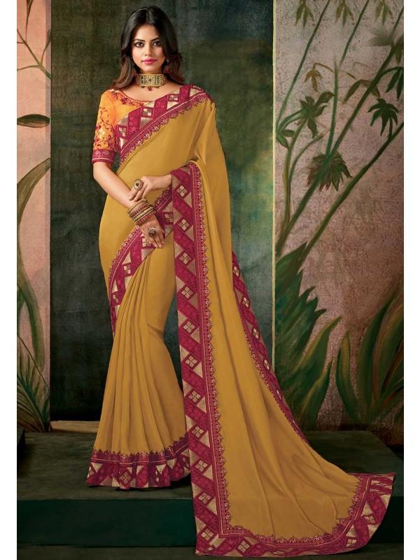 Yellow Color Indian Wedding Saree.
