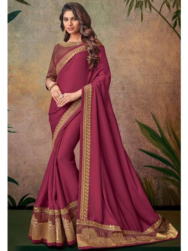 Maroon Color Designer Bridal Saree.