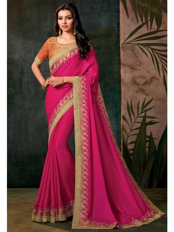 Pink Color Designer Saree.