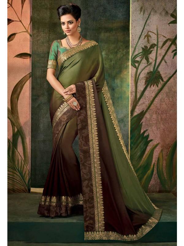 Green Color Party Wear Saree.