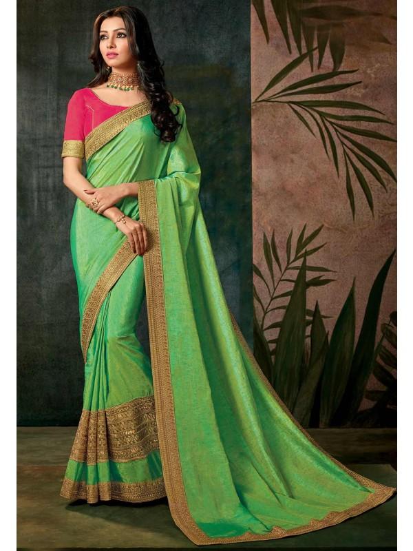 Traditional Look Green Color Saree.