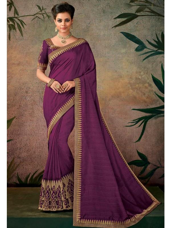 Purple Color Indian Designer Saree.
