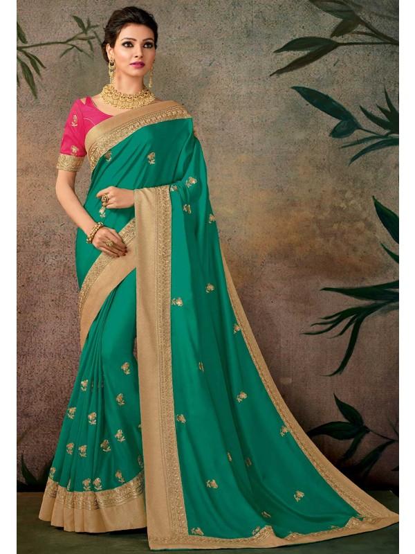 Green Color Silk Sari.