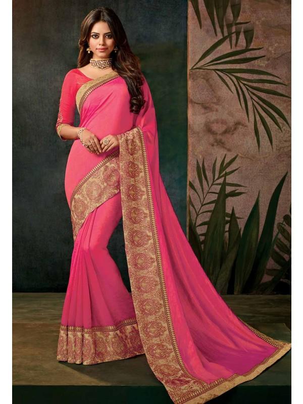 Pink Color Saree.